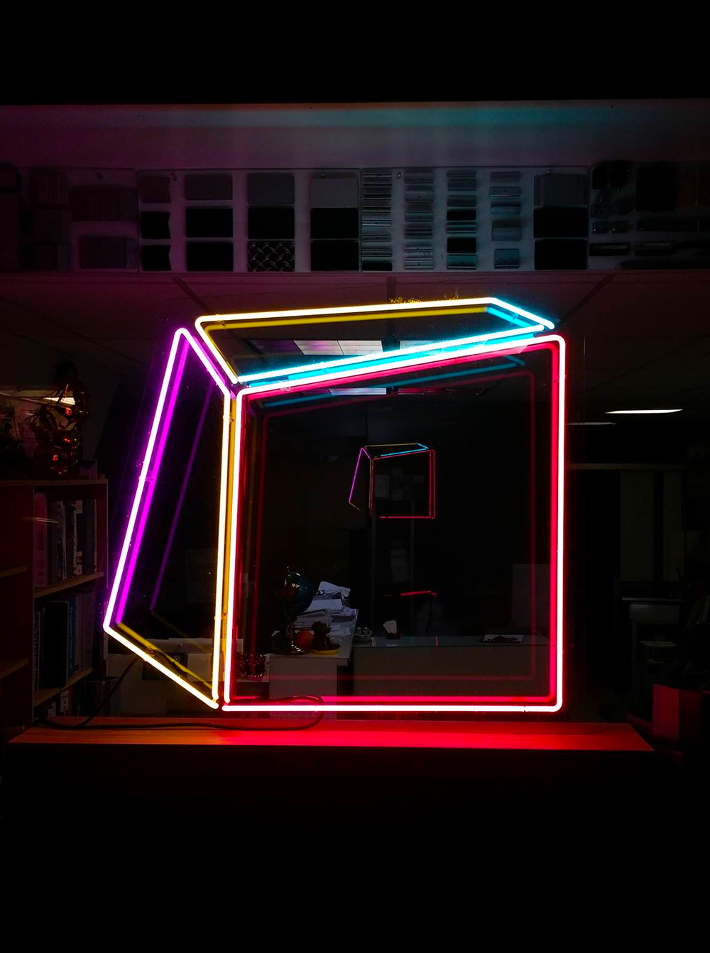 "Soft Geometry Neon 6A.4.222. 2015 - Edition: 1 of 3.  - 41"" w x 37"" h Plexiglass backing and 10"" x 12"" wood block. Free standing floor Sculpture"