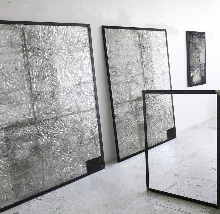 "Large Glass (Silver/Black) - 1st & 2nd Version - 2015 - Each 72"" x 84"""