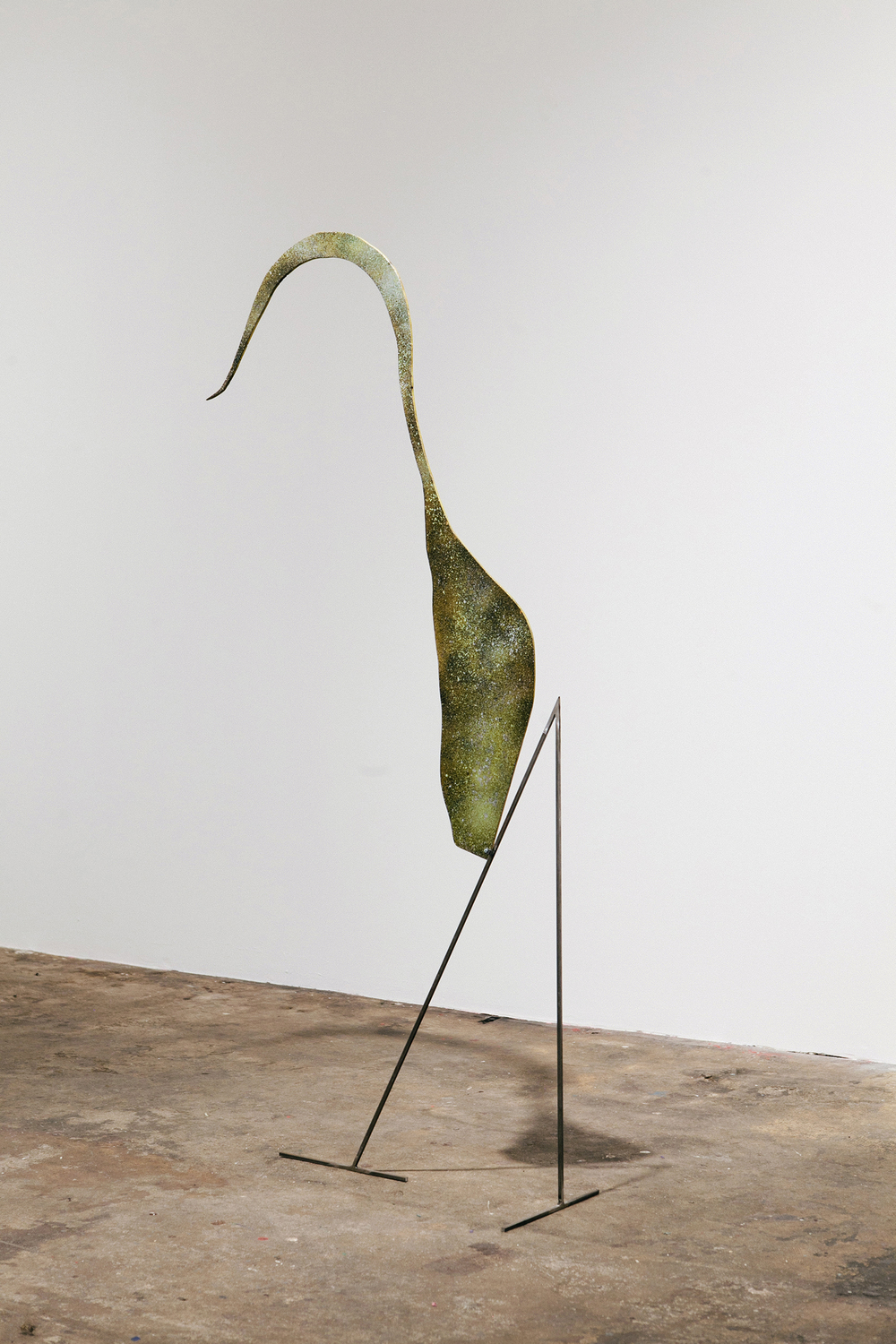 """The yellow form"", 2014, oil paint, pigment, spray paint, burns, wood, steel, 58x27x10 inches"