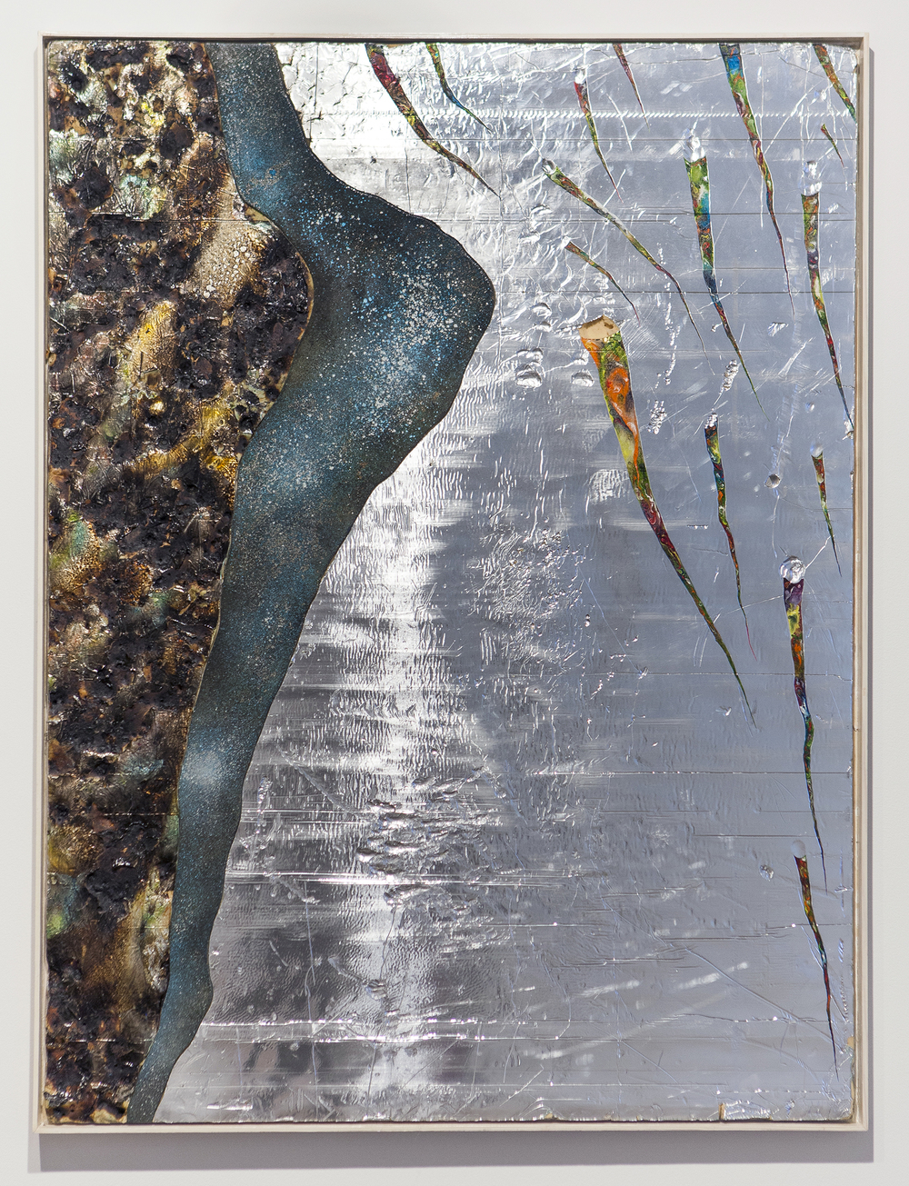 """Are you shivering? Are you cold? Are you bathed in silver or drowned in gold?"", 2014, oil paint, pigment, spray paint, burns, wood, steel on silver faced foam panel, 48x36 inches"
