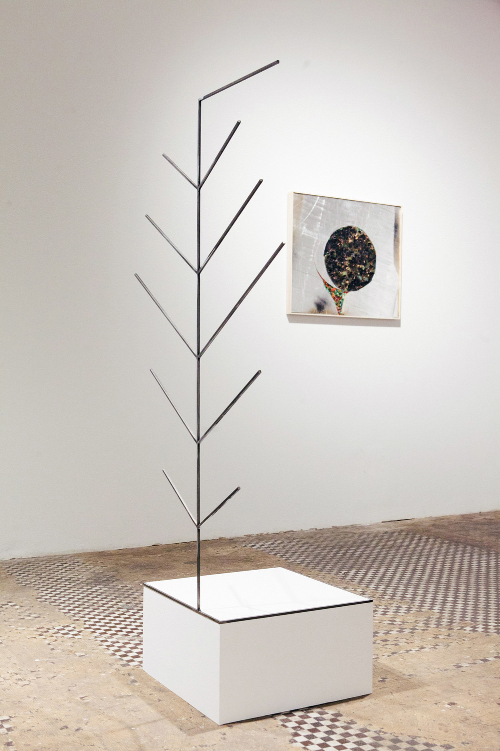 """A stranger"", 2015, steel, wood, 59x30x18 inches"
