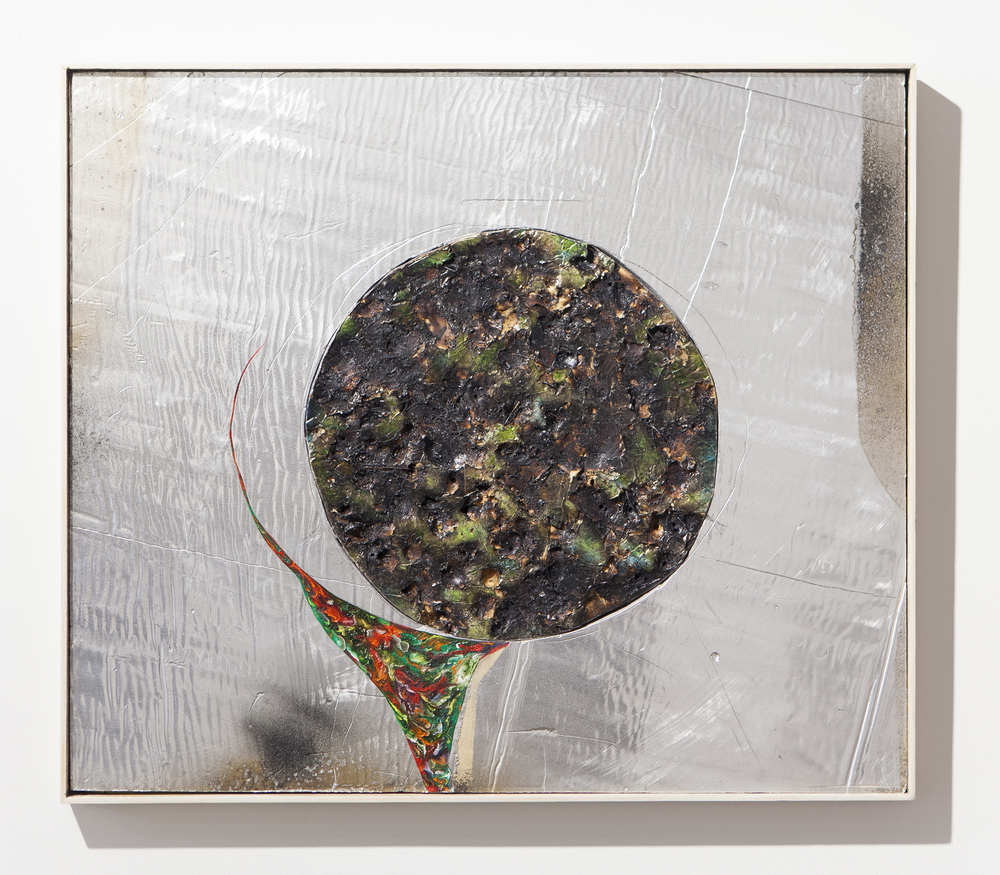 """That pour through your mouth O river of silver, O river of flowers"", 2015, oil paint, burns, steel on silver faced foam panel, 25,5x29,5 inches"