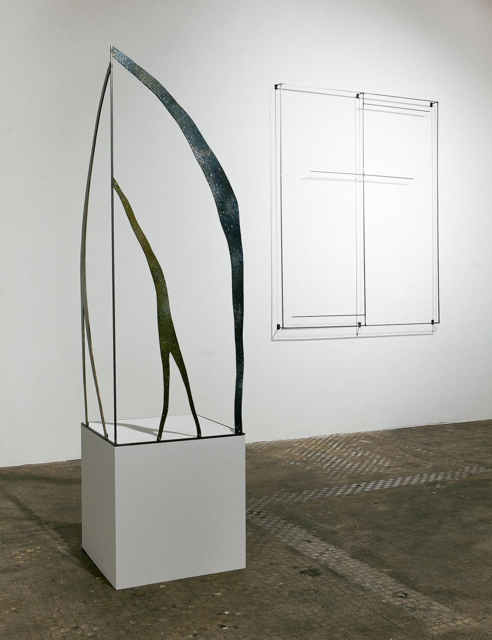 """Fountain"" (left), 2015, oil paint, pigment, spray paint, wood, steel, 68x18x18 inches"
