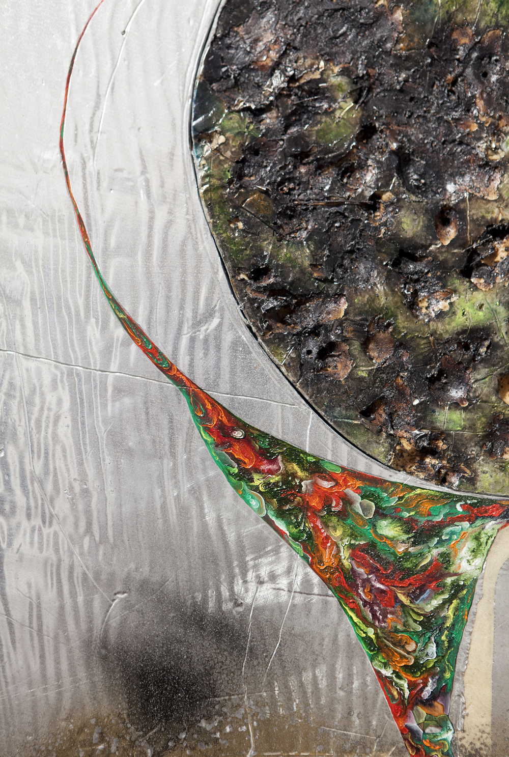 """That pour through your mouth O river of silver, O river of flowers"" (detail), 2015, oil paint, burns, steel on silver faced foam panel, 25,5x29,5 inches"
