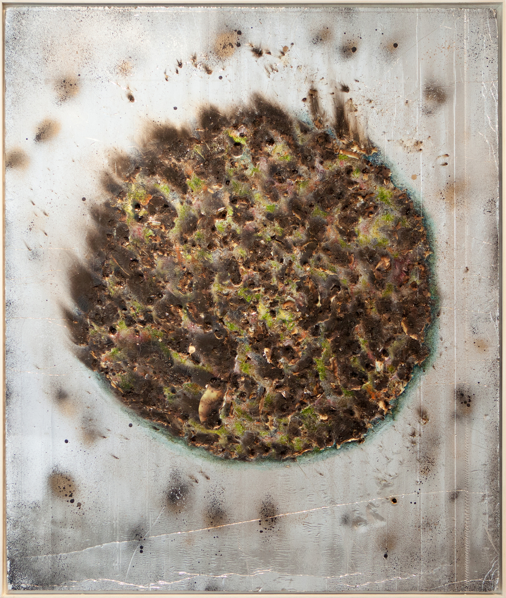 """Blu Eclipse"", 2014, oil, spray, burns, steel on silver faced panel, 56x47 inches"
