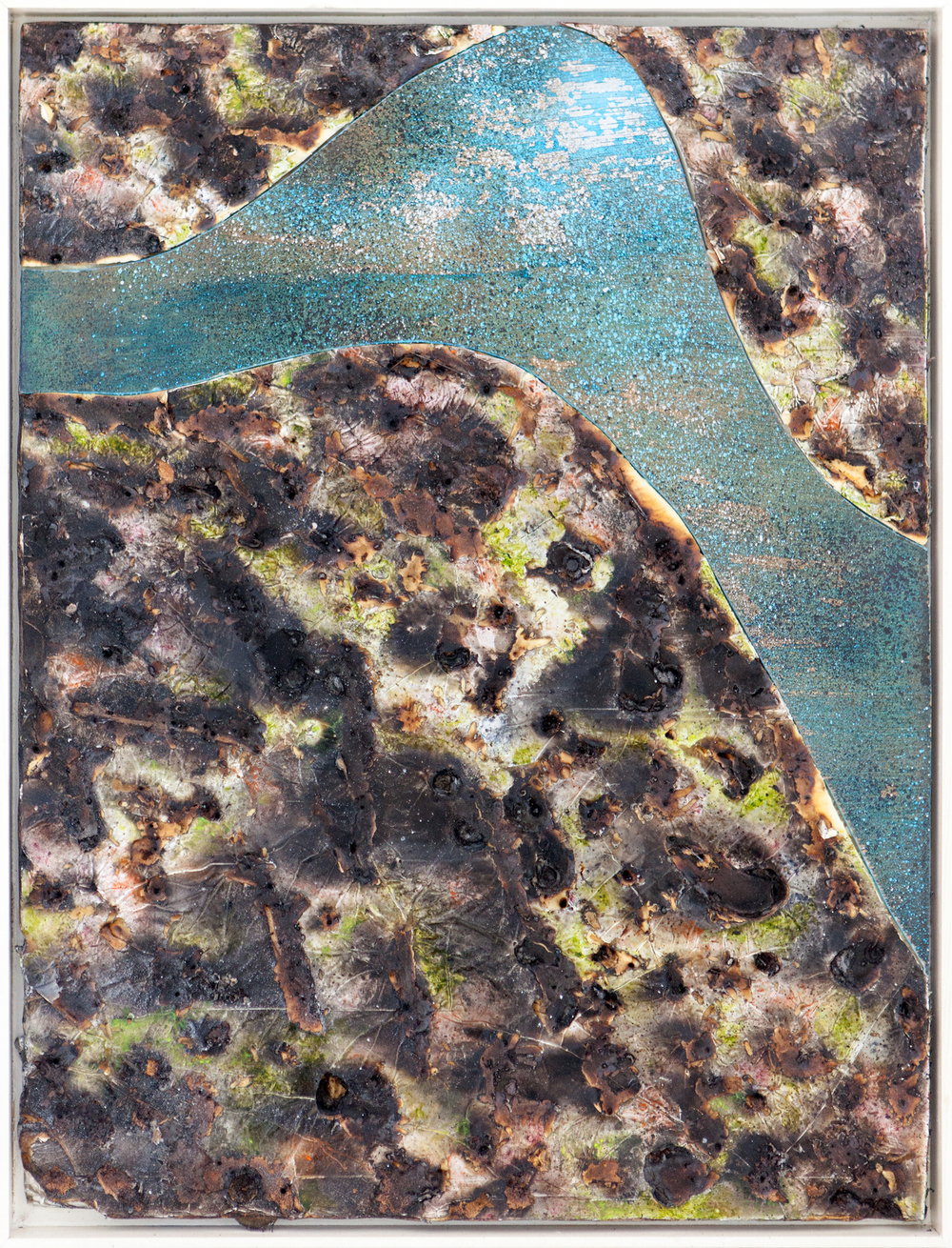 """Blu Stream"", 2014, oil, spray, burns, steel, wood on silver faced panel, 25x19 inches"