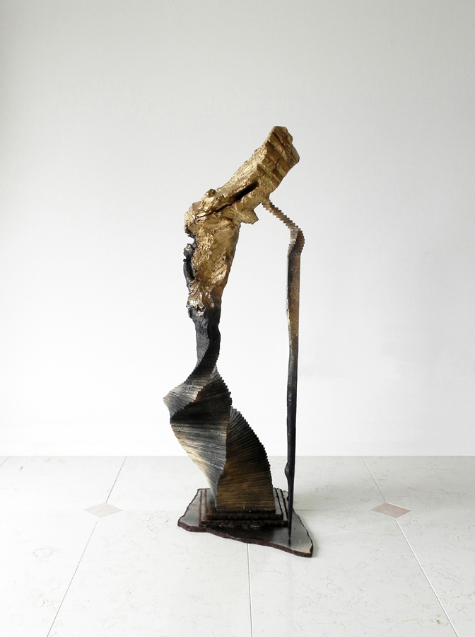 """Lower body Universe"", 2012, wood, dead tree, glue, spray paint, dirt, 52x16x18 inches"