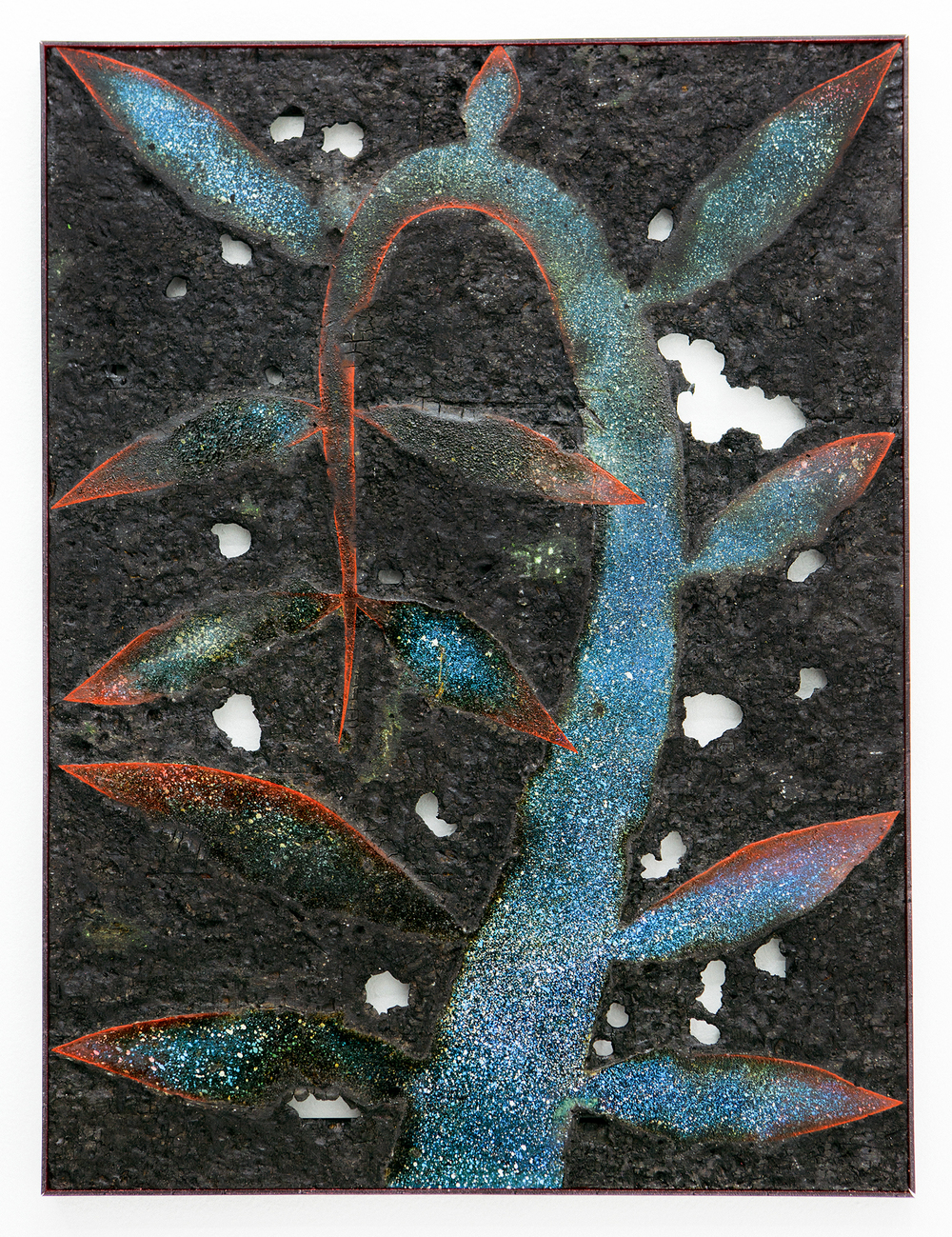 TBT, 2015, spray paint, pigment, burns, varnish, oil paint, on wood, plexiglass, 24x18 inches