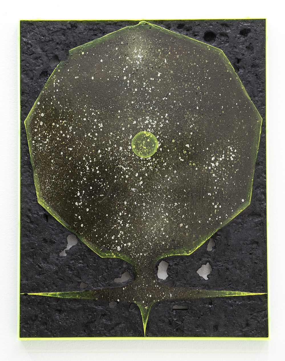 Black shape #2, 2016, spray paint, pigment, burns, varnish, oil paint on wood, plexiglass, 18x14 inches