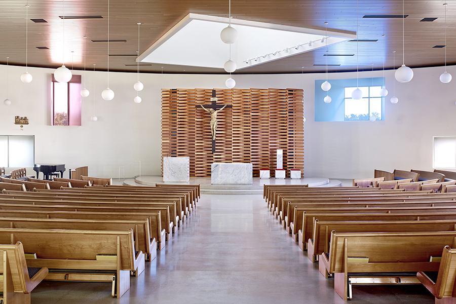 St. Joseph the Worker Church Interior Space Colored Glass fenestration
