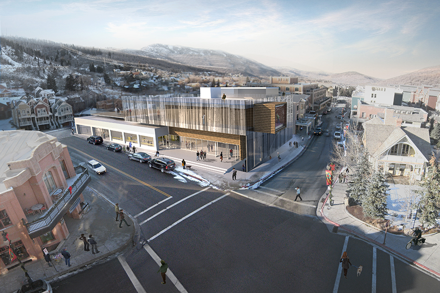 Kimball Art Center in Park City, Utah Daytime Aerial Rendering