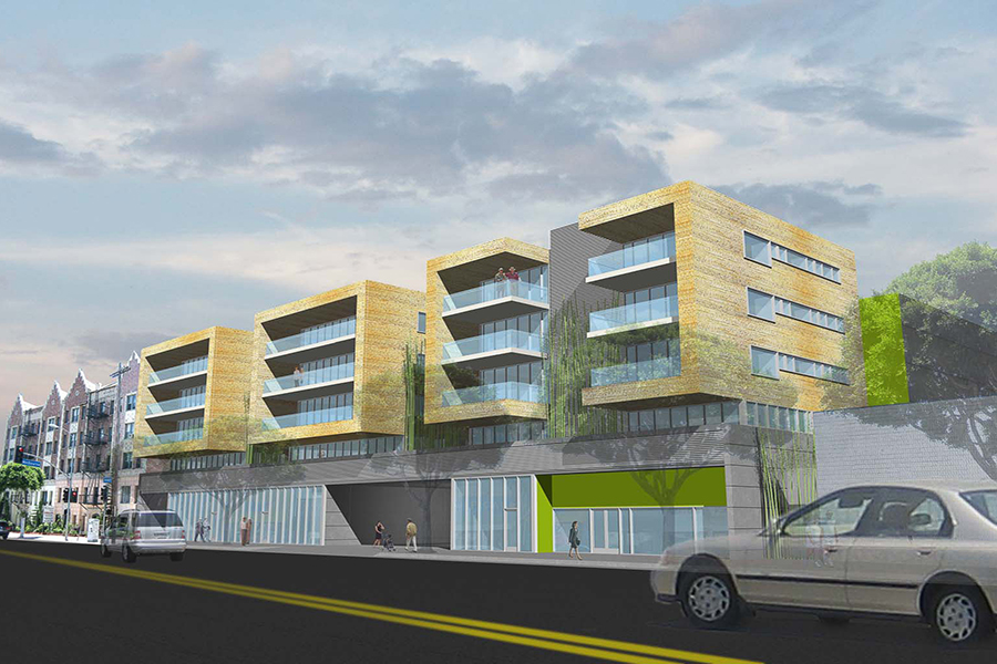 Los Feliz Mixed Use Housing Street Facade Rendering