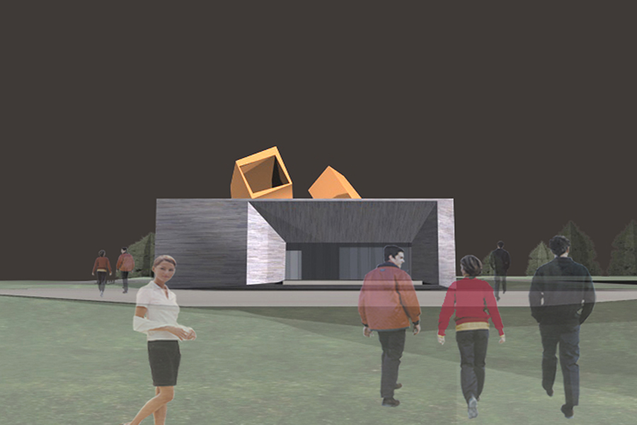 Sante Fe Springs Performing Arts Center Exterior Rendering Building on Site
