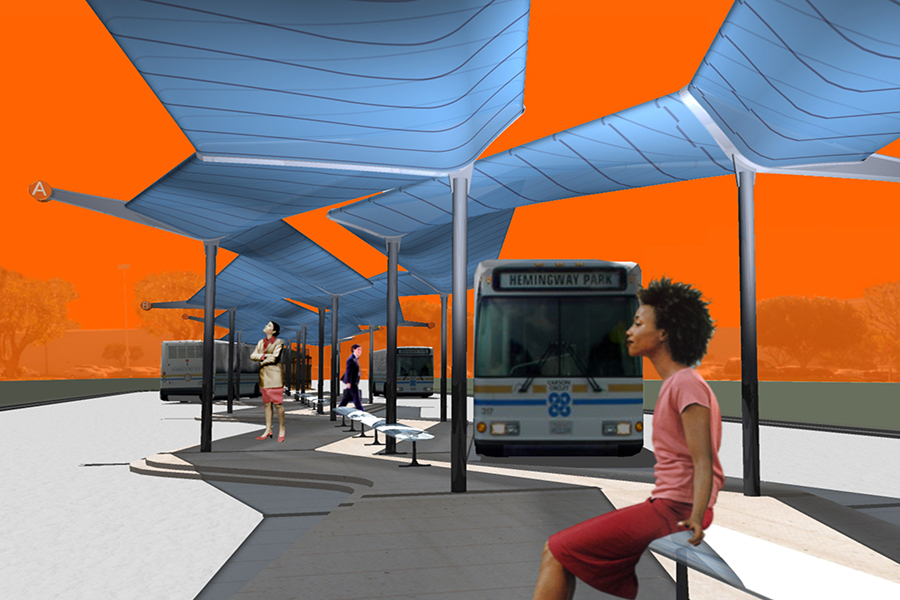 South Bay Pavilion Transit Center Experiential Rendering with riders and public transportation