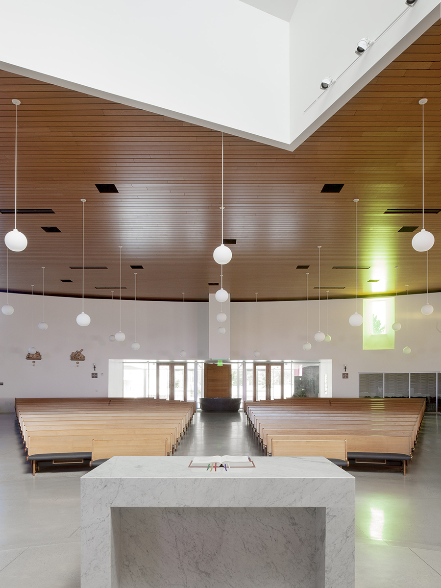 St. Joseph the Worker Church Pulpit and worship space designed by Sparano Mooney Architecture
