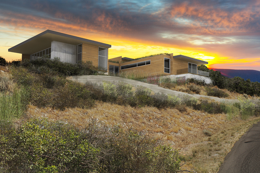 Park City Modern Residence Rendering of the home from driveway