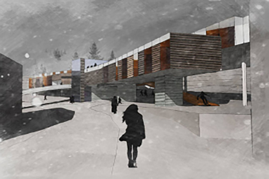 Powder Mountain Ski Lodge winter rendering of the structure and ski resort activities