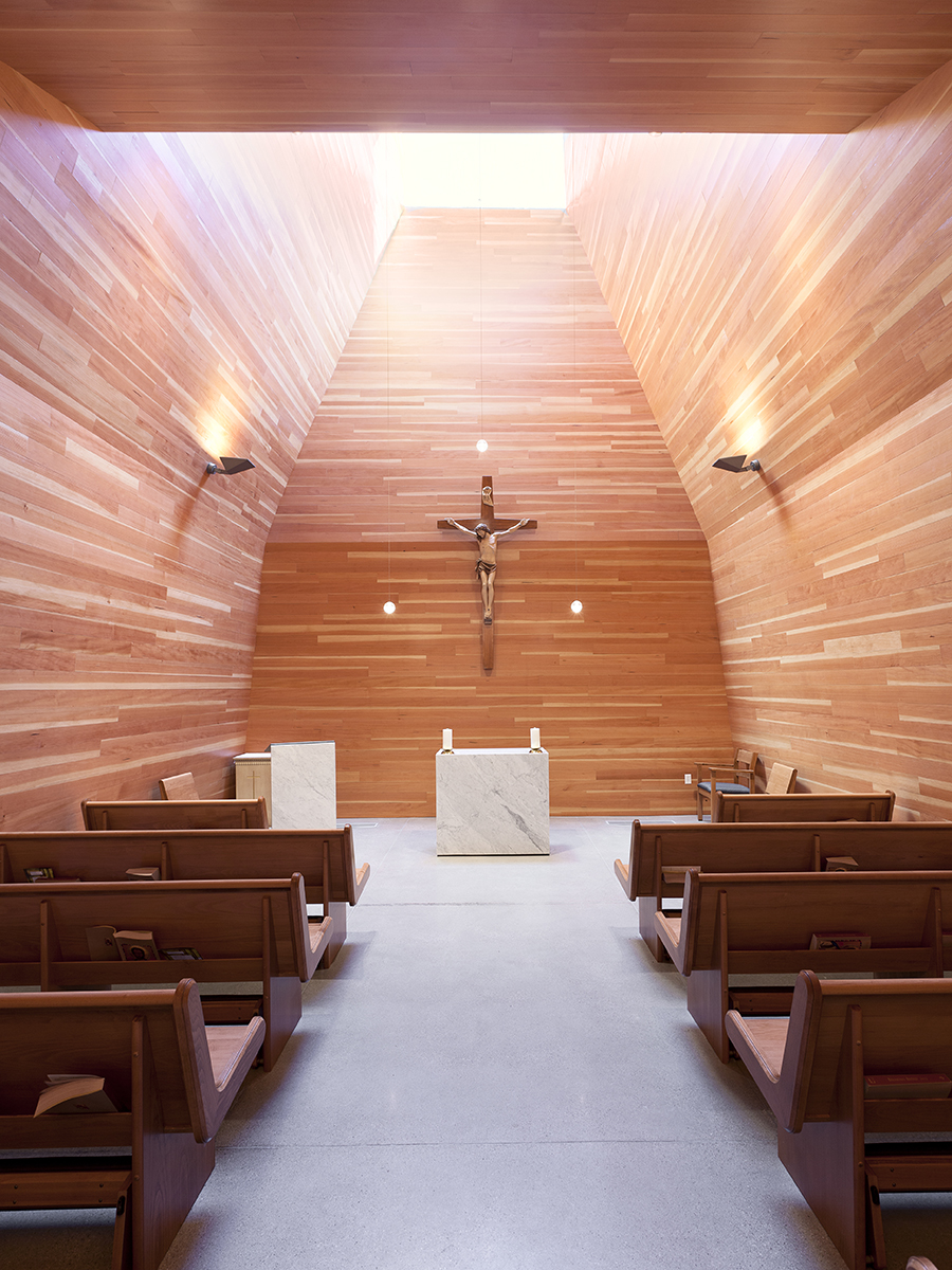 St. Joseph the Worker Day Chapel Interior Space Warm Wood and furniture designed by Sparano + Mooney Architecture