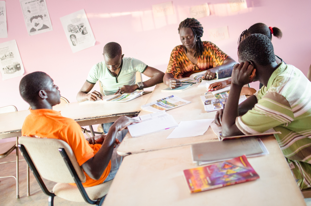 West African Vocational Schools English students studying in classroom