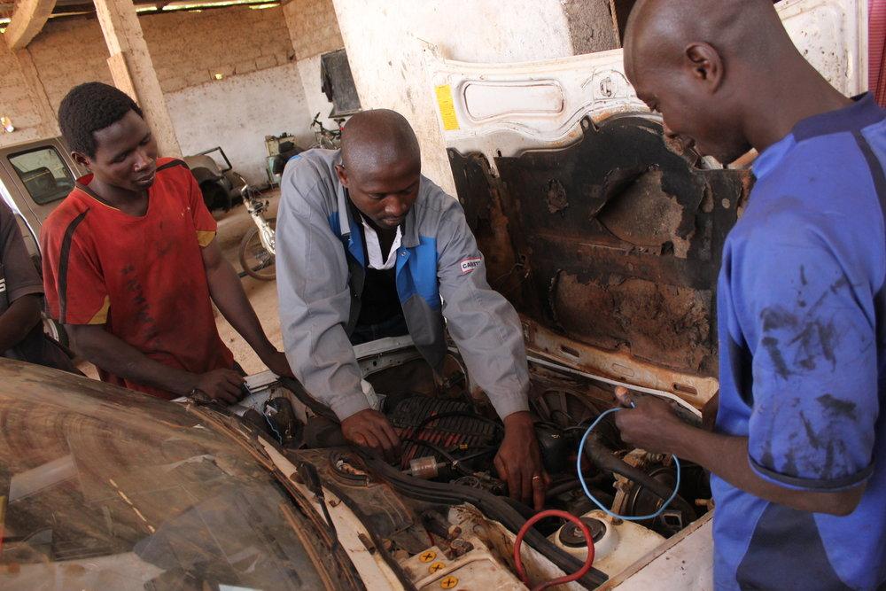 Auto mechanics students at West African Vocational Schools