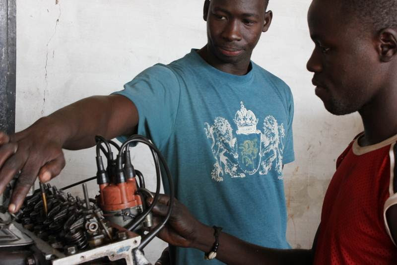 West African Vocational Schools auto mechanics students