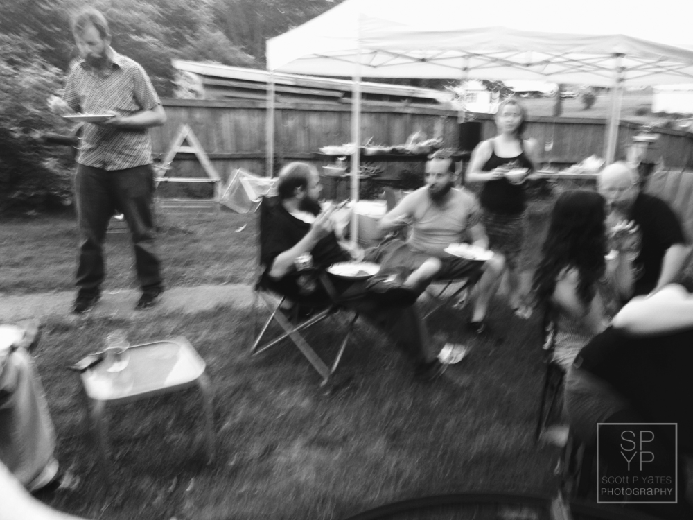 A moody shot of the group eating.