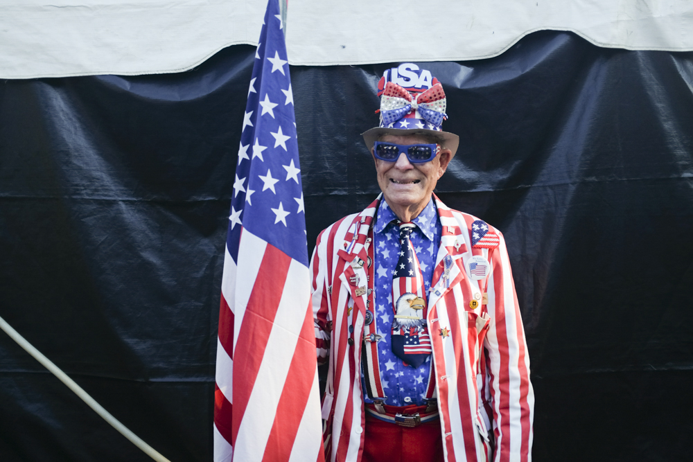 """Tommy """"Uncle Sam"""" Sammons is dressed in a patriotic red, white and blue suit for the special occasion that is the opening day of the 102nd Chesterfield County Fair. Photograph by Scott P. Yates"""
