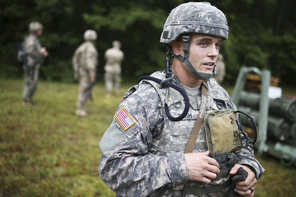 Cpl. Joshua Smith, from the 553rd CSSB 1st Cavalry Division from Fort Hood, Texas, speaks to a reporter while undergoing an ammunition transfer and holding point exercise at Fort Pickett in Blackstone, Va., on Tuesday, August 8, 2017. [Scott P. Yates/progress-index.com]