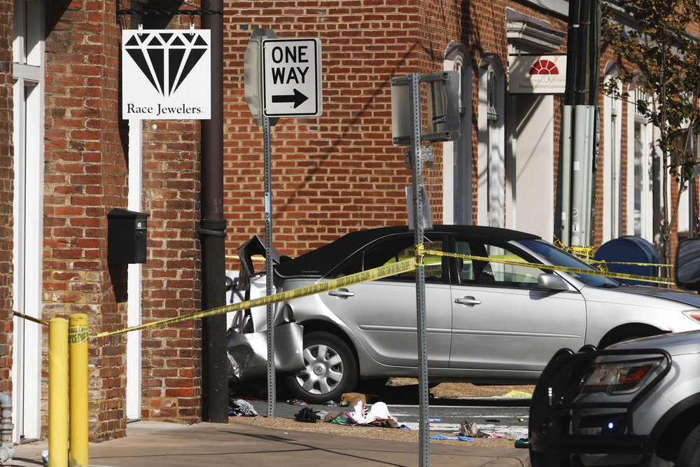The site of the car attack that killed counter protester Heather Heyer and injured over 30 other people on 4th Street and Water Street in Charlottesville, Va., on Saturday, August 12, 2017. [Scott P. Yates/progress-index.com]