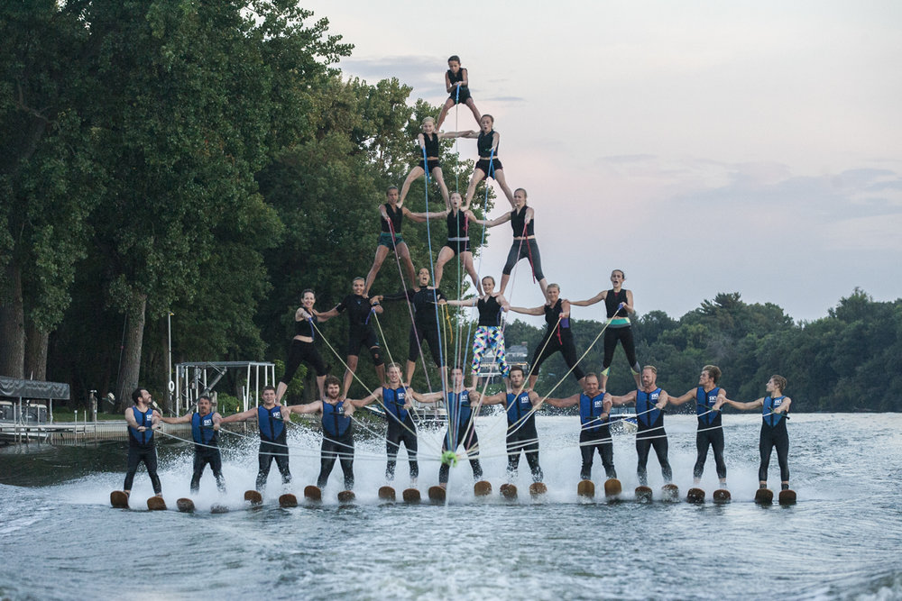 For the first time in about three years, the Ski Broncs team successfully completed a five high ski formation, a rare and difficult maneuver, during practice on Tuesday, July 31, 2018. The team also formed the five high during the D1 National Championships in Janesville, Wis., on August 11, where the team placed 7th out of 14 team. [SCOTT P. YATES/RRSTAR.COM STAFF]