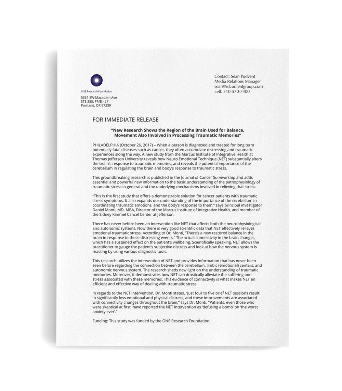 Jefferson Study press release
