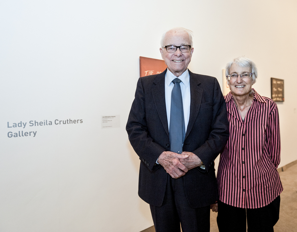 Sir James Cruthers and Sue Cruthers at the opening of The Money Story: Warburton Artists, March 2012. Photo credit: Nic Montagu