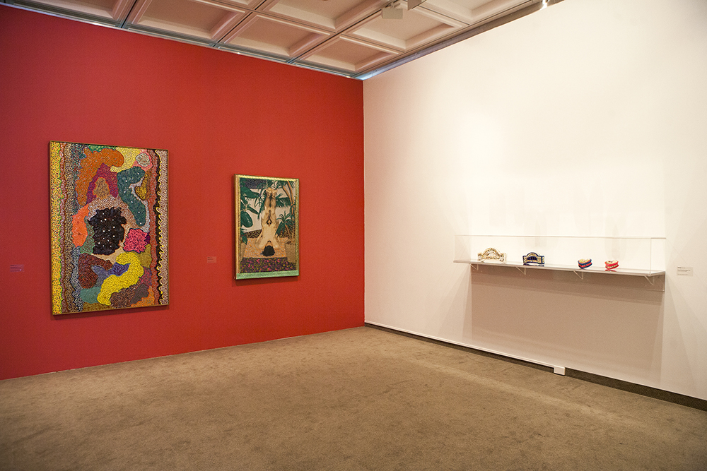 installation view: Glitter: Pat Larter vs Lola Ryan, curated by Gemma Weston, Lady Sheila Cruthers Gallery, Cruthers Collection of Women's Art,Lawrence Wilson Art Gallery, The University of Western Australia, Perth, 26 July - 27 September 2014