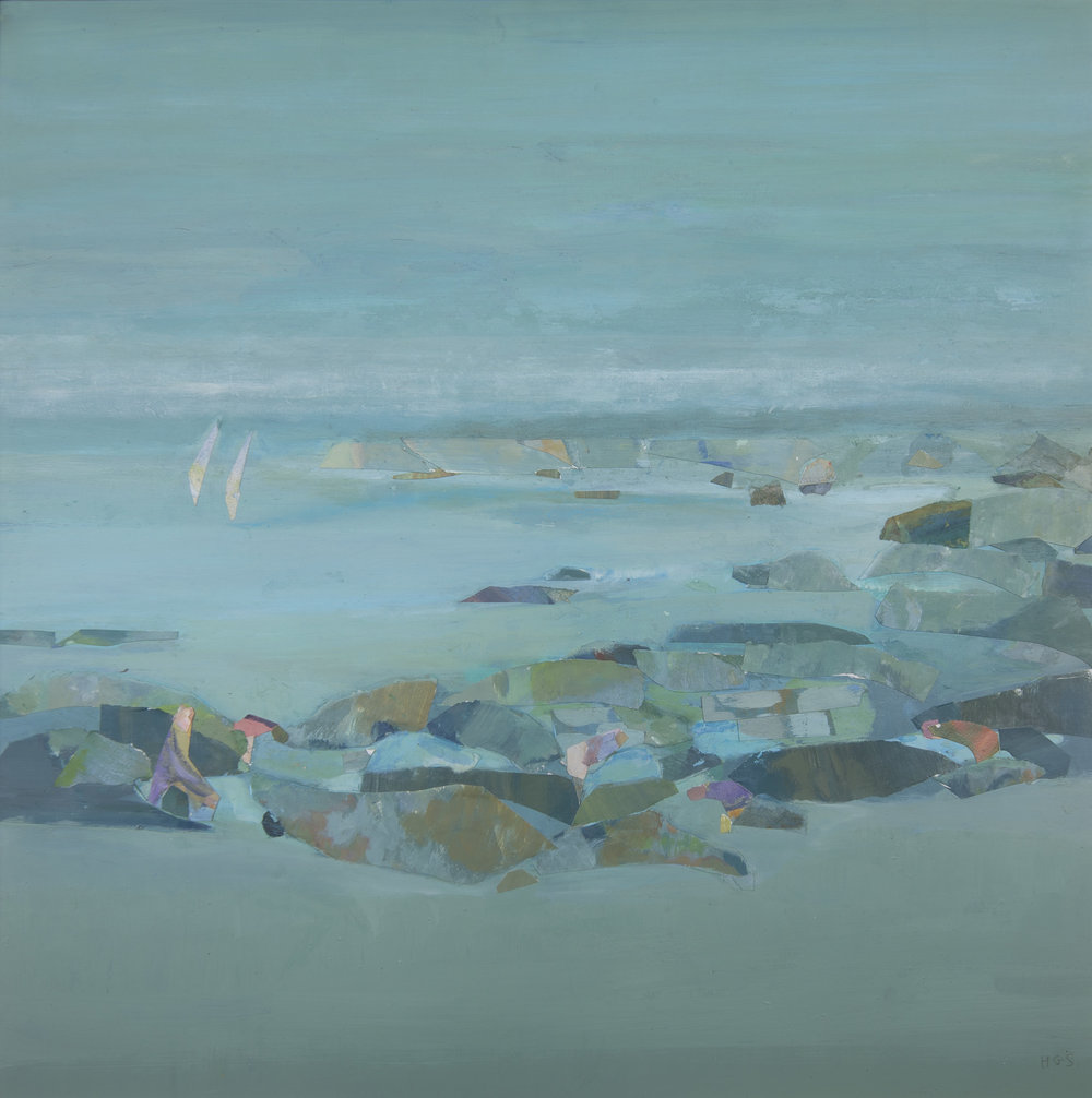 Helen Grey-Smith , Rock Pool,  1995, acrylic and collage, 45 x 42 cm. Private collection. Exhibited at the Old School House Gallery, Pemberton, 3 September – 3 October 1995, 'Forest and Sea' exhibition. Photograph by Steven Gersbach. Courtesy Grey-Smith Estate.