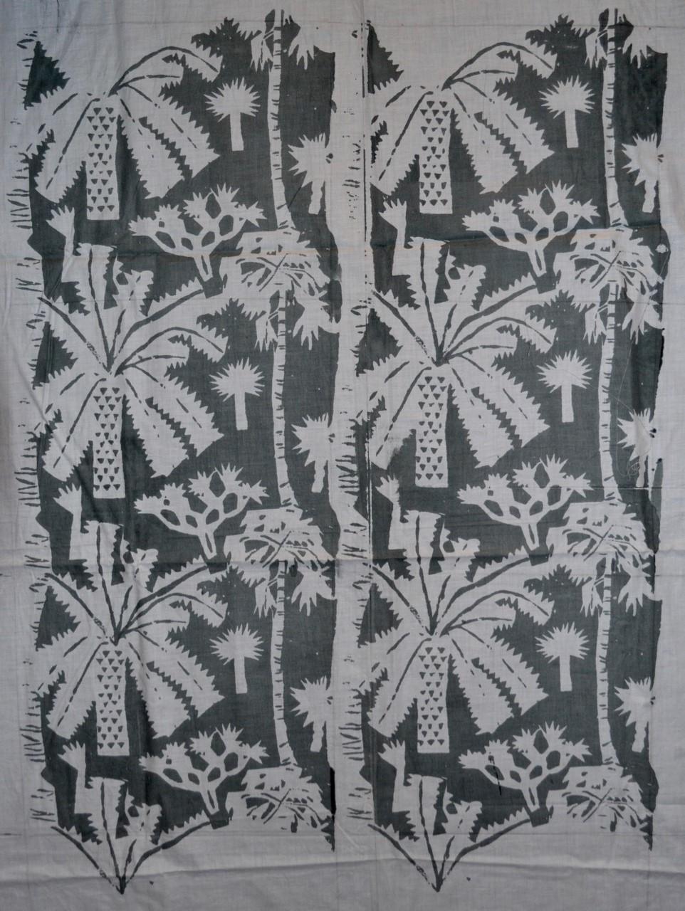 Helen Grey-Smith,  Palm Trees , 1960s, screen-print on cotton, design 25 x 20 cm. Collection of Grey-Smith Estate. Photograph by David Porter. Courtesy Grey-Smith Estate.