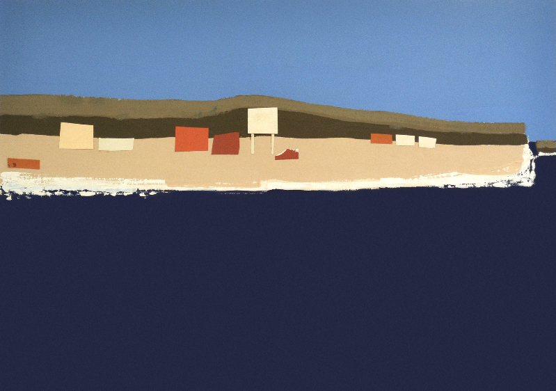 Helen Grey-Smith, Village by the Sea 3, 1972, acrylic and collage, 43.8 x 60.9 cm, Collection of Curtin University, Western Australia. Courtesy Grey-Smith Estate.