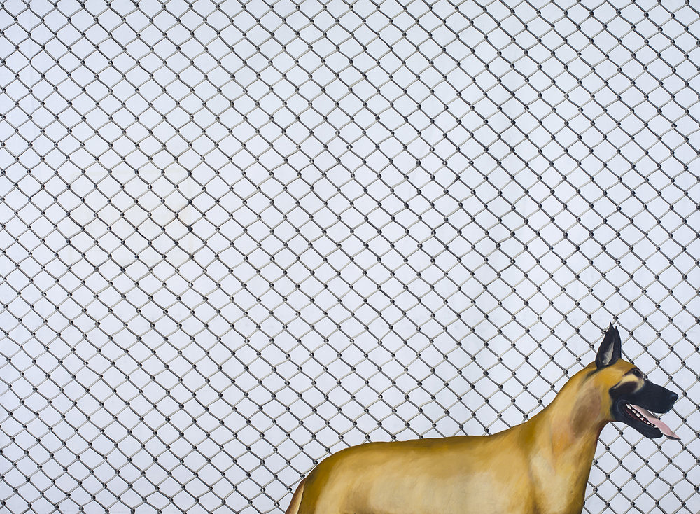Jenny Watson , Cyclone fence with Great Dane 1972 ,oil and acrylic on ten ounce cotton duck.Courtesy and ©the artist. Photograph by Carl Warner