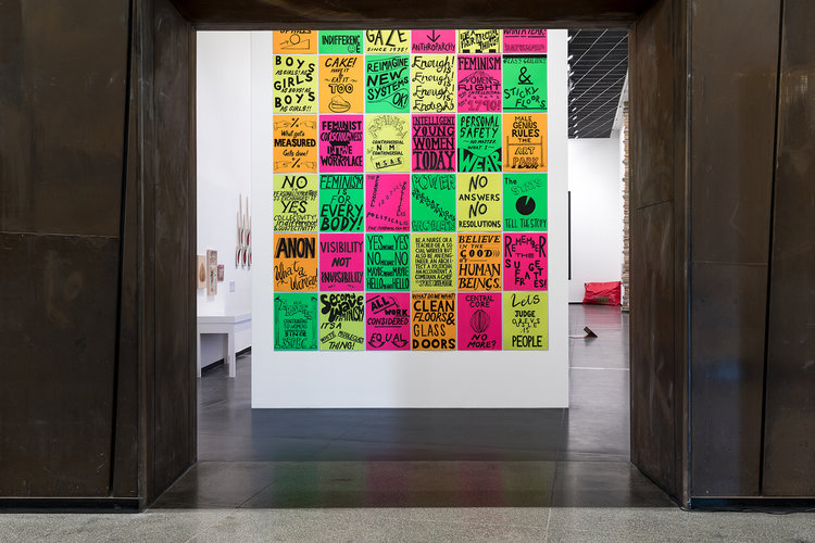 Kelly Doley,  Things learnt about feminism #1-#95  2014 (detail), ink on card, 95 sheets, each 60 x 52 cm, installation view, Australian Centre for Contemporary Art, Melbourne. Courtesy Cruthers Collection of Women's Art, The University of Western Australia. Photo Andrew Curtis.