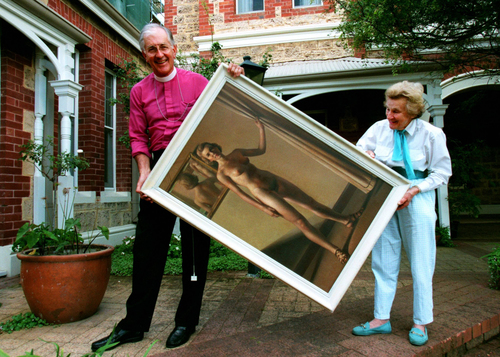 """The archbishop and the naked lady"", read the headline in  The West Australian  as Sheila's collection was displayed in Archbishop Peter Carnley's residence to raise money for breast cancer research. Photo Barry Baker. Courtesy  The West Australian."