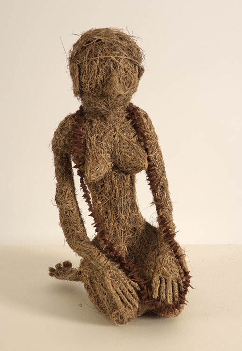 Joyce Winsley,  Granny Bass  1999, Guildford grass stitched and moulded, irreg, 30cm high. Cruthers Collection of Women's Art, The University of Western Australia. Photo Victor France. Courtesy the artist's estate.