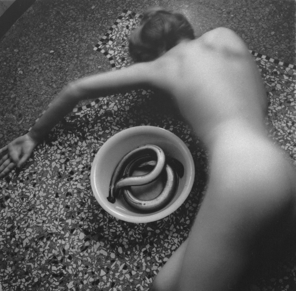 Francesca Woodman,  From Eel Series, Venice, Italy  1978, Gelatin silver estate print, 20.3 x 25.4 cm, © Charles Woodman, Courtesy Charles Woodman, and Victoria Miro, London/Venice