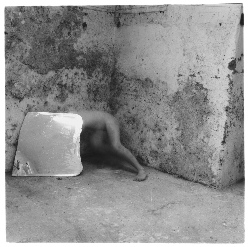 Francesca Woodman,  Self-deceit #5, Rome, Italy  1978, Gelatin silver estate print, 20.3 x 25.4 cm, © Charles Woodman, Courtesy Charles Woodman, and Victoria Miro, London/Venice