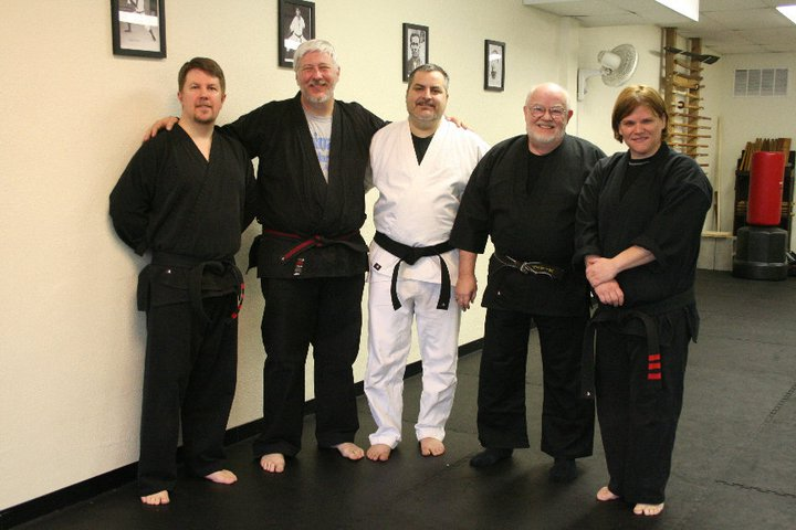 Left to right: Scott Olfe, Shihan Keith Jakle, Jay Christie, Soke Larry Byers, Sensei Kelli Ballard