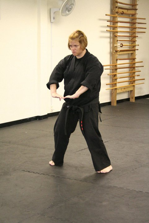Sensei Kelli demonstrates technique.