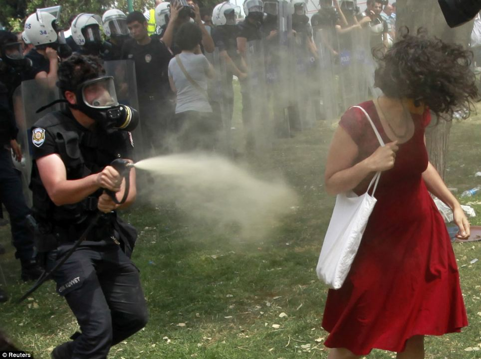 Woman in Red, Protest in Turkey, Osman Orsal