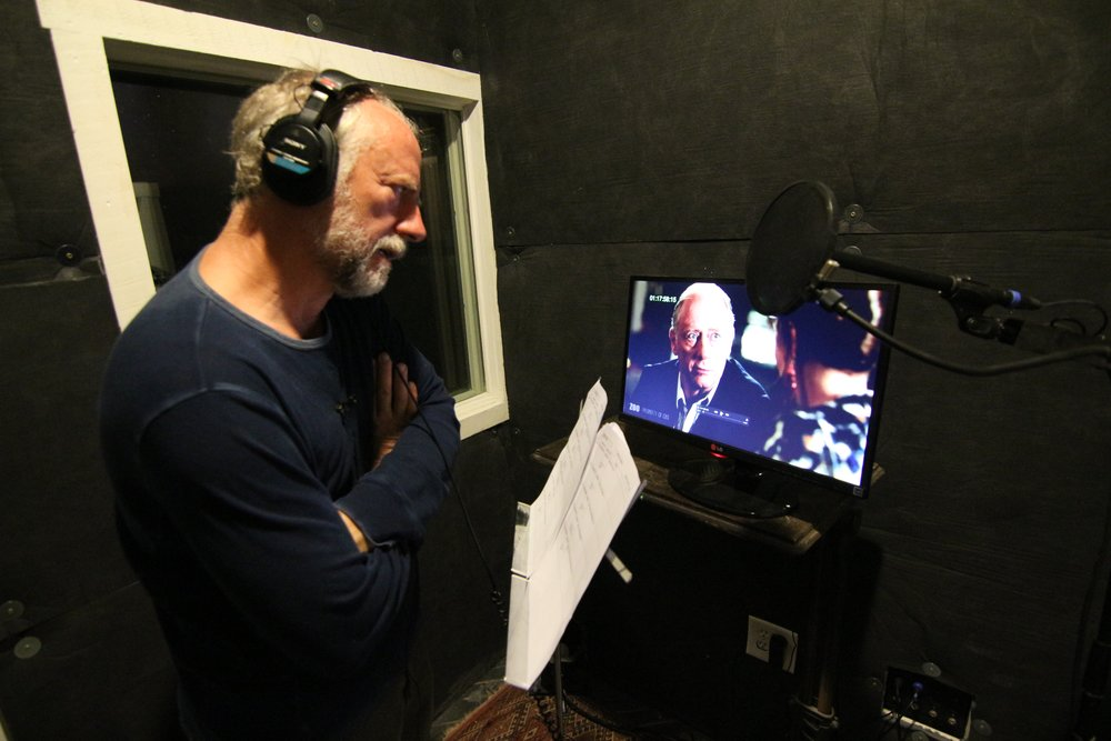 "Xander Berkeley recording ADR for CBS show ""ZOO"""