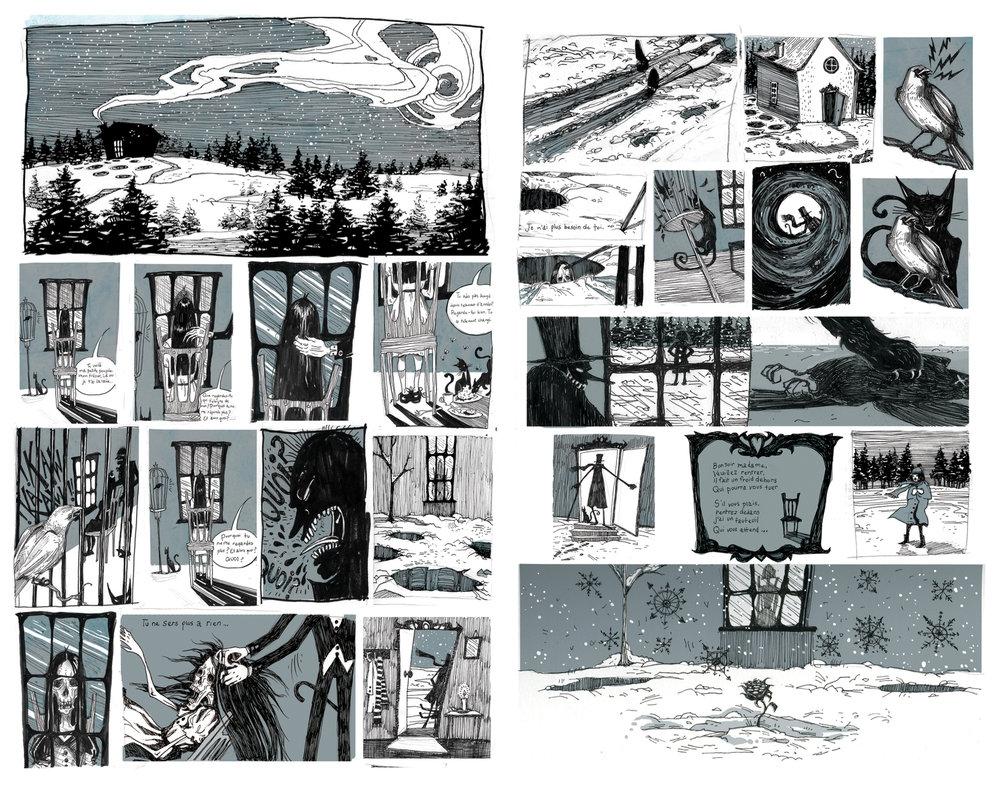 """Neige Noir"", Two Page Comic Strip"