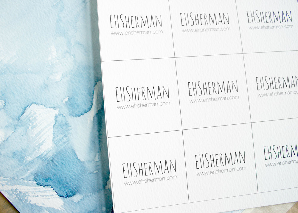 How to make watercolor business cards by EHSherman