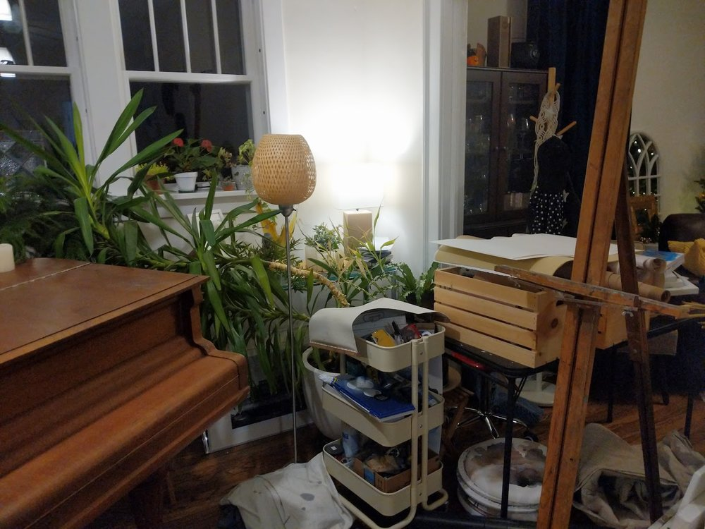 Everything in my studio is now in the living room. Yikes.