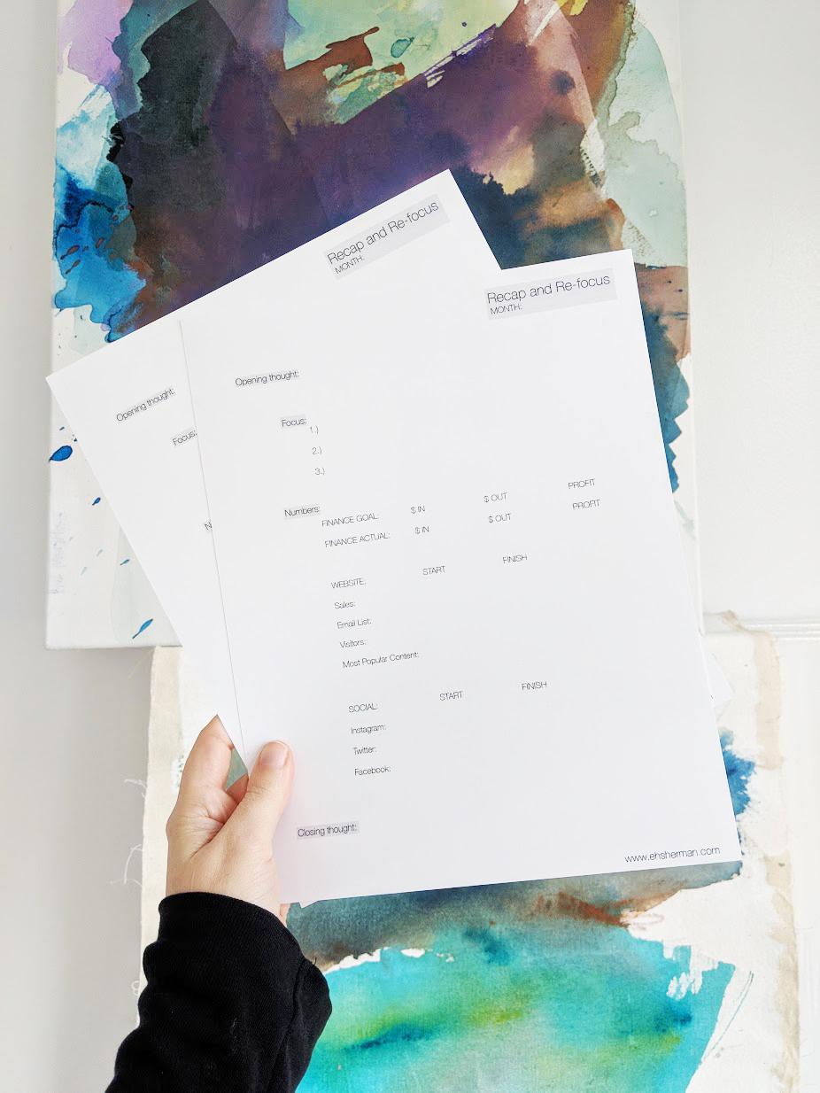 EH Sherman Art Recap and Refocus Worksheet for Artists